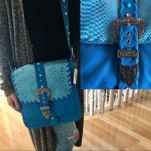 🆕 BOHO CHIC leather rhinestone bag, CHARM & LUCK